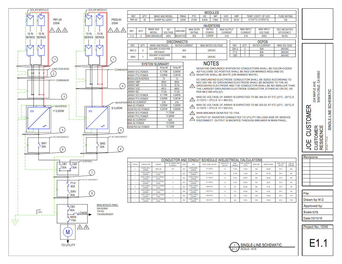 Solar System Connection Diagram Not Lossing Wiring Panels Single Line Diagrams On Demand Solardesigntool Hybrid Power